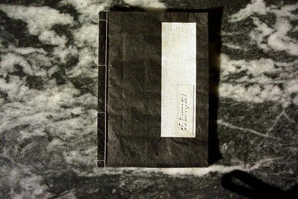 """Clinamen #20""""Rachel"""" Poetry: Rachel Blau Du Plessis, translation: D. Agrafiotis, drawing (indian ink): D.Agrafiotis, Book Binding: S.K. Koutsiautis, Cover: xero-art, D.Agrafiotis, Athens, 5/2002. 40 pages, A4, seven copies, 2002."""